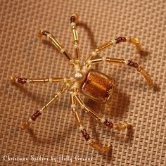 Golden Bar Spider $9 Christmas Spiders by Holly Greene