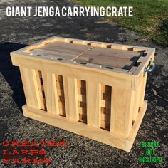 Our giant jenga tower Inspired carrying crate is custom made to fit 54 jenga blocks x x blocks). Each crate includes two inch zinc coated handles. Three types of wood to choose from: pine, popular, and red oak. Giant Yard Games, Yard Games For Kids, Backyard Games, Backyard Ideas, Lawn Games, Backyard Bbq, Outdoor Jenga, Yard Jenga, Outdoor Games