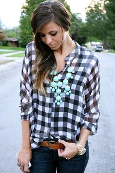 teal bubble necklace wear with orange gingham check shirt for {recreate}
