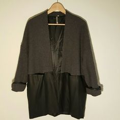 Oversized Blazer Fits up to large. Faux leather and wool-like material Mon B Jackets & Coats Blazers
