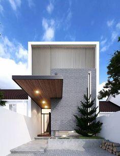 Modern Exterior House Designs, Modern Architecture House, Facade Architecture, Residential Architecture, Modern House Design, Exterior Design, Green House Design, House Front Design, Entrance Design