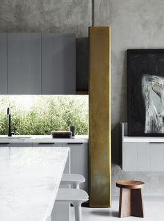 Kitchen // bronze grey white marble ideas / Balwyn House