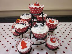 Candy-topped cupcakes for firehouse party.