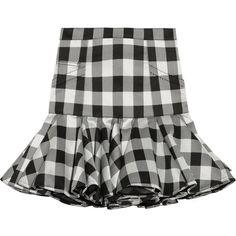 Balmain Ruffled gingham silk-blend satin mini skirt (11,415 AED) ❤ liked on Polyvore featuring skirts, mini skirts, bottoms, saias, balmain, gonne, black, mini, black flounce skirt and ruffle skirt