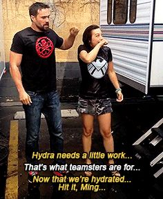 Hydra needs a little work / That's what teamsters are for / Now that we're hydrated, hit it Ming || Ming-Na Wen, Brett Dalton || Ice Bucket Challenge || 245px × 300px || #animated #cast || For options to donate to ALS research, check out my blog post: http://colleensheadspace.tumblr.com/post/95463730061/i-love-a-good-social-media-campaign-especially