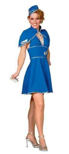 Britney Spears Air Hostess Fancy Dress Costume US 4-6 by Parties Unwrapped Ltd. $37.99. Britney Spears Air Hostess Fancy Dress Costume. Lovely quality sexy 3 piece Air Hostess fancy dress costume, similar to the one worn by Britney Spears comprising the following: 1. Dark blue/ silver trim detail dress, which is halter neck style and ties at the back. It has a zip back fastening. 2. Cape with attached collar which ties around the neck. 3. Matching hat, one size to complete t...