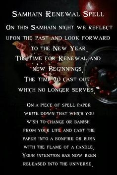 Samain: #Samhain Renewal Spell. - Pinned by The Mystic's Emporium on Etsy
