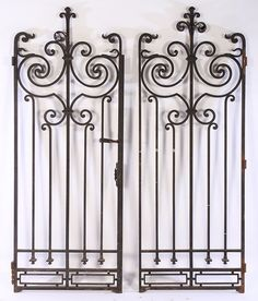 PAIR FRENCH IRON GARDEN GATES SCROLL DESIGN 1930 : Lot 18