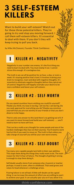 Self-esteem killers to watch out for. Great tips for boosting self-esteem and self-confidence #selfesteem #confidence #tips #selfconfidence #infographic