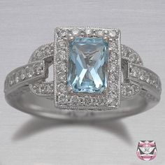 Aquamarine right hand ring stunning Art Deco Jewelry, Jewelry Box, Jewelery, Aquamarine Jewelry, Gemstone Jewelry, All Gems, My Birthstone, Right Hand Rings, Best Diamond