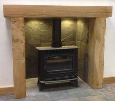 rustic oak fire surround - Google Search