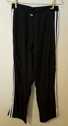 Women's Adidas Black Warm Up Track Pants Size Medium White Stripes #21 in Clothing, Shoes & Accessories, Women's Clothing, Athletic Apparel | eBay