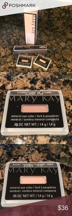 Mary Kay Eye Products Mary Kay Oil-Free Eye Makeup Remover, Lash Love Lengthening Mascara, Sienna Mineral Eye Color, and Silky Caramel Eye Mineral Color. All are full size products. Mary Kay Makeup