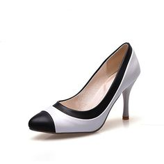 AmoonyFashion Women's Pull on Low Heels PU Solid Pointed