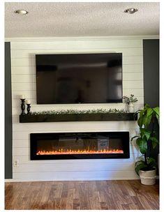 Fireplace Tv Wall, Basement Fireplace, Build A Fireplace, Fireplace Built Ins, Fireplace Remodel, Living Room With Fireplace, Fireplace Design, Shiplap Fireplace, Fireplace Inserts