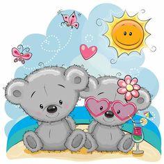 Illustration about Greeting card Two Bears in a cap on the beach. Illustration of cheerful, bear, face - 92908011 Teddy Bear Cartoon, Cute Teddy Bears, Cute Cartoon, Tatty Teddy, Beach Illustration, Graphic Illustration, Creative Pictures, Cute Pictures, Urso Bear