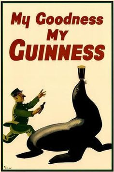 My Goodness, My Guinness Seal Beer Vintage Ad. Available a Giclee Paper Art Print, Rolled Canvas, Mounted Canvas, and Wood Sign.  **Please note: additional images are shown as an example of the mounted canvas. The first image shown is the actua...