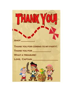 Jake and the Neverland Pirates thank you note.