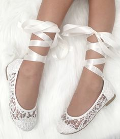 White Crochet GIRLS SHOES Flower Girl Shoes Lace up Ballet c0eb60adea4