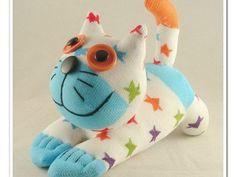 Handmade Sock Cat Kitty Stuffed Animal Doll Baby Toys via Etsy Homemade Stuffed Animals, Homemade Baby Toys, Stuffed Animal Cat, Sock Crafts, Cat Crafts, Sock Dolls, Baby Dolls, Best Baby Toys, Sock Animals