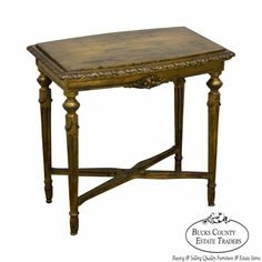 Antique French Louis XVI Style Gold Gilt Side Table #LouisXVI