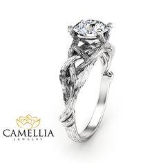 Bague de fiançailles branche Moissanite bague par CamelliaJewelry
