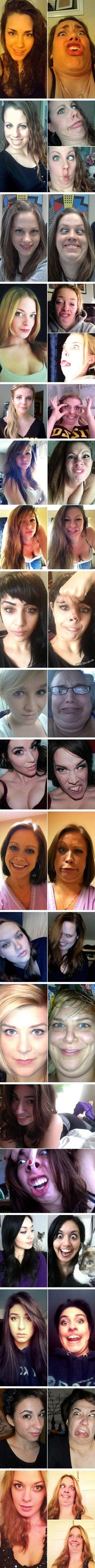 The difference of us girls in public verses with our friends SPOT ON. Proof that every funny face needs a double chin.