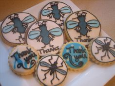 Mosquito Cookies - These are pretty random cookies, but I worked with a group and did research on mosquitoes, so I wanted to thank them with something mosquito related!  Peggy Porschen's sugar cookies with RI.  I looked at some mosquito images online to draw on the cookies.