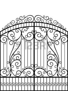 Illustration of Wrought Iron Gate, Door, Fence vector art, clipart and stock vectors. Iron Window Grill, Window Grill Design, Fence Design, Metal Gates, Wrought Iron Gates, Iron Gate Design, Iron Windows, Steel Gate, Iron Art