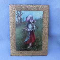 Charming Miniature Folk Art Oil Painting of a Girl by Neatcurios