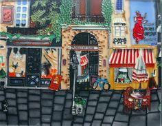Decorative Wall Tiles, Ceramic Wall Art, Tile Art, Scene, Ceramics, Street, Painting, Amazon, Pottery
