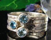 Swiss Blue topaz ring , Sterling Silver 935, blue ring,Handmade,Stacking Rings,