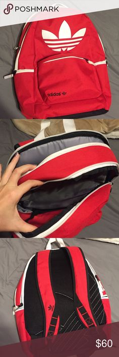 Adidas Red Backpack Lightly used! Super cute, could use some love ❤️ Adidas Bags Backpacks
