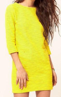 Neon Yellow Half Sleeve V Cut Back Short Dress