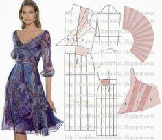Moldes Moda por Medida: TRANSFORMAÇÃO DE VESTIDOS _43 Sewing Box, Sewing Tutorials, Sewing Projects, Pattern Dress, Red Gown Dress, Dress Template, Flowergirl Dress, Quilts, Modeling