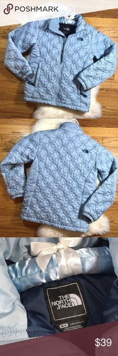 The North Face Quilted Jacket! Sz M Girls The North Face Quilted Jacket! Sz M Girls •VGUC •No flaws, minor wrist discolor from natural wear (see pic 8)  •Pretty light blue shade with quilted flower pattern The North Face Jackets & Coats Puffers