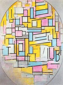 Piet Mondrian - Komposition mit Oval in Farbebenen II