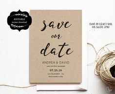 Modern Save the Date card Printable Save Our Date by VineWedding