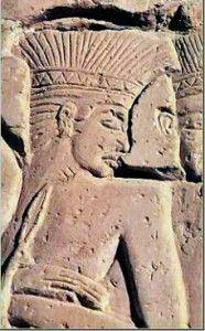 Pelest Krieger auf einem Relief in Medinet Habu