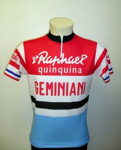 maillot cycliste st raphael Quinquina geminiani bleu - Cycles Marcarini