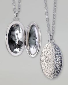 Would love a locket like this. Picture on one side with a message on the other