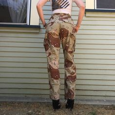 a1f3f52ac90 vintage 90s high waist army desert storm chocolate chip camouflage camo  pants streetwear womens size