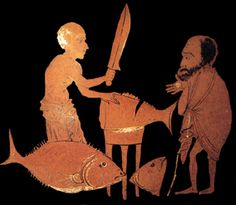 What we know about food in Ancient Greece comes from their literature. No book specifically on food or recipes is extant from that period, but food is talked about a great deal by characters in Greek plays. Ancient Greek Food, Ancient Greek Theatre, Ancient Greece, Greek Recipes, Wine Recipes, Greek Plays, Greece Food, Wine Images, Greek Pottery