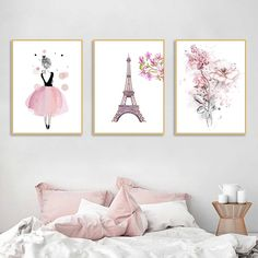 Watercolor Pink Princess Paintings Canvas Flowers Wall Art Pairs Poster Nordic Pictures for Girl Kids Room Decoration Home Decor Kids Room Wall Art, Living Room Art, Wall Art Decor, Room Decor, Canvas Wall Art, Wall Art Prints, Princess Painting, Wall Art Pictures, Style Vintage