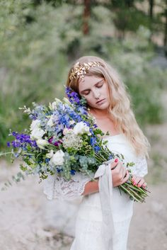 wildflower wedding bouquet in blue and white