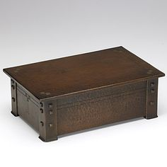 ROYCROFT: Extremely rare incised and riveted hammered copper hinged box, verdigris patina on squares; Orb and cross mark; 3 1/2'' x 10 1/2'' x 6 3/4''