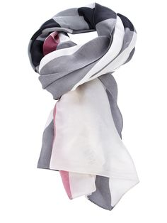 Off white silk scarf from Burberry featuring a grey and red check pattern.