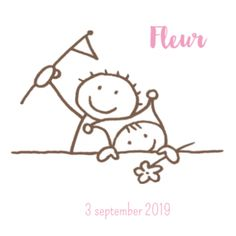 Getekend geboortekaartje baby met bloem en broer met vlaggetje