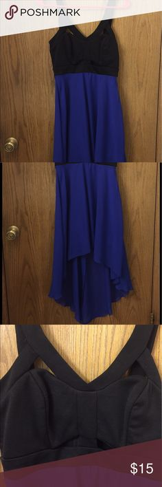 Blue and black high low cut out dress hardly worn Blue and black high low cut out dress hardly worn Dresses High Low
