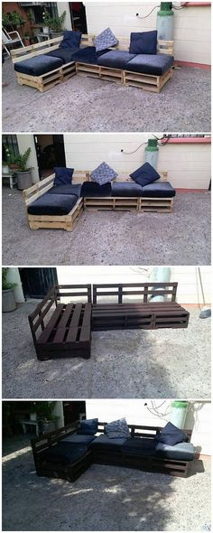 Small yet artistic! This wood pallet couch formation artwork has been built in the durable and stable creations where the finishing area of the couch has been functionally put into the simple stacking of the pallet planks. It is being designed into the L shaped structure piece.